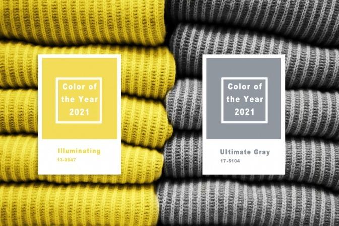 Kleidungsstücke in den Trendfarben 2021 Illuminating und Ultimate Gray