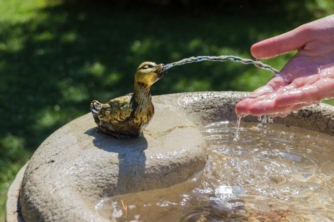 Aus einem Trinkbrunnen kommt Wasser