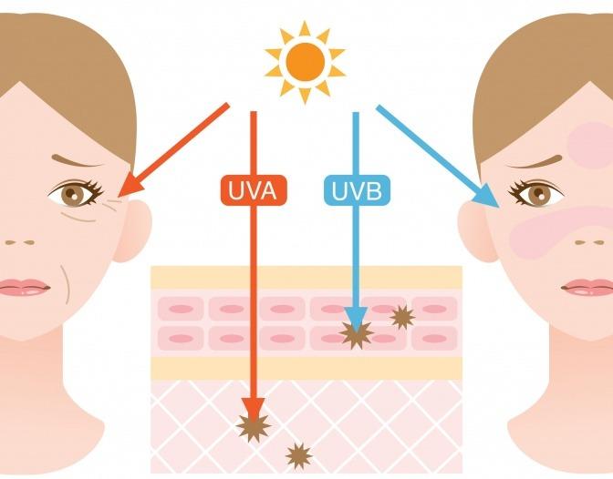 Eine Grafik zeigt die Wirkung der UVA und UVB Strahlung