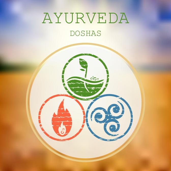In einem Kreis werden drei Symbole für die Doshas gezeigt