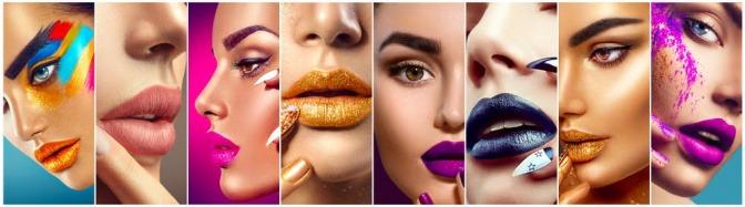 Verschiedene Frauen mit den unterschiedlichsten Lippenstiftfarben