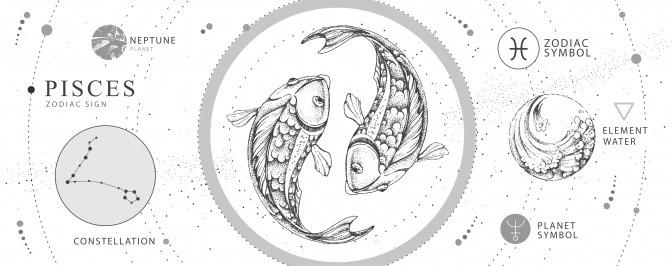 Das Tierkreiszeichen Fische ist grafisch dargestellt