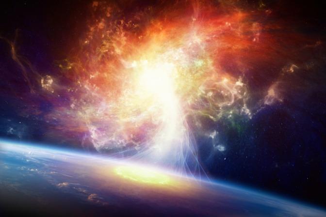 Das Weltall und die Erde sind zu sehen