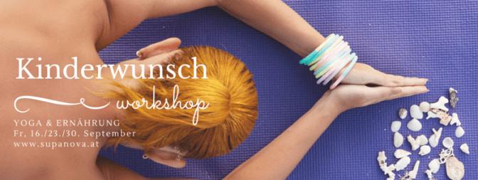 Das Bild zeigt einen Flyer für die Workshopreihe Yoga & Ernährung für Frauen mit Kinderwunsch