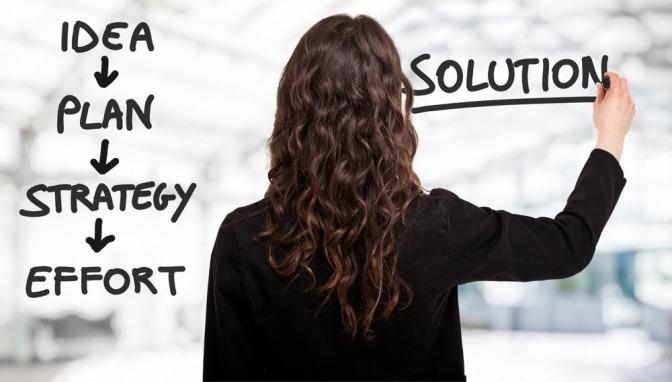 Eine Frau steht vor einer Tafel. Auf den linken Teil hat sie die Worte Idea, Plan, Strategy, Effort untereinander geschrieben. Rechts daneben steht das Wort Solution.