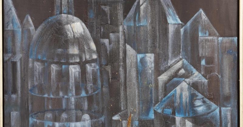 Ein Gemälde aus Glas zeigt Häuser
