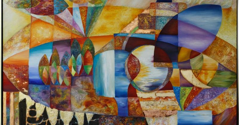 Ein Kunstwerk mit verschiedenen Formen und Farben