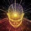 Auf einen Kopf sind Energie Strahlen gerichtet