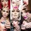 Eine Collage mit 9 Frauengesichtern und bunt lackierten Fingernägeln