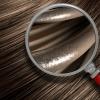 Eine Lupe zeigt Haare vergrößert für eine Haaranalyse