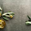 Olivenöl mit Früchten und Zweig auf grauem Hintergrund