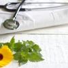 Ein Stetoskop und ein Arztkittel von Naturheiltherapeuten liegen neben einer Blume